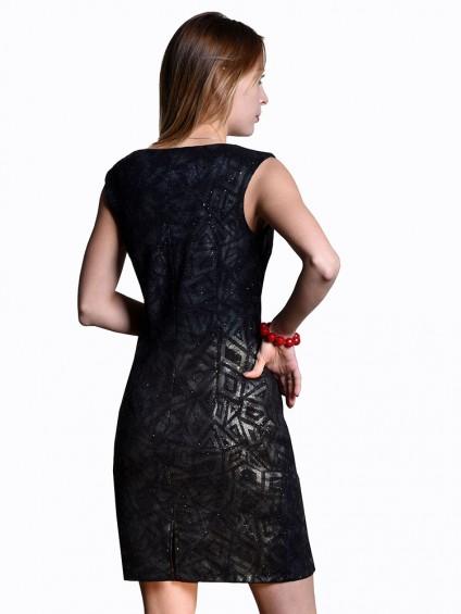 Платье мод. 1658-1 цвет Черный+серебряный