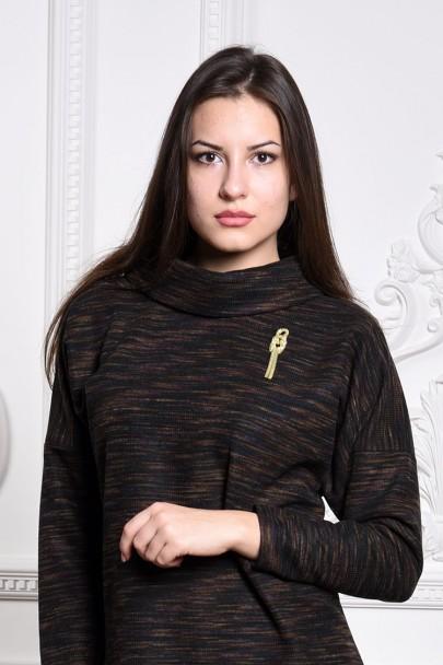 Платье мод. 1821-1 цвет Темно-коричневый