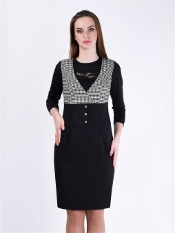 Платье мод. 3735 цвет Черный+белый
